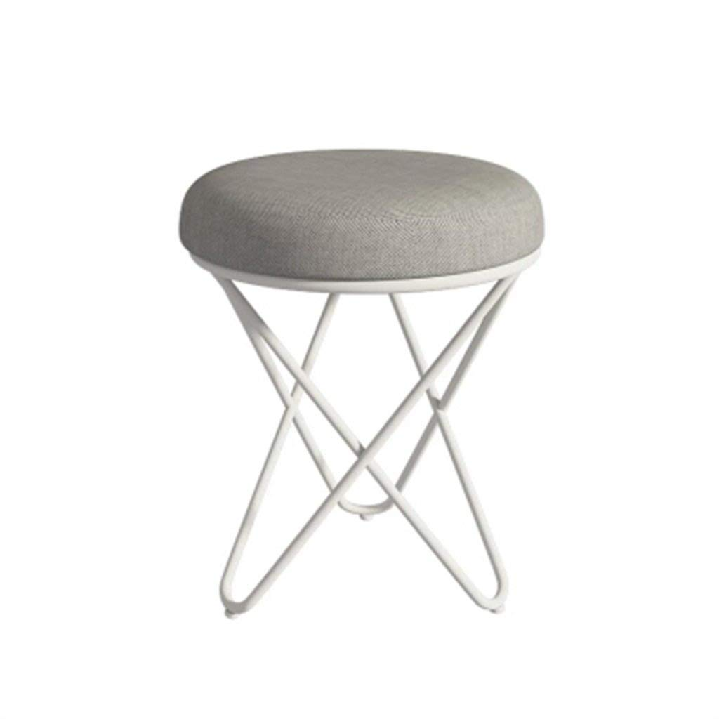 3 European Chair Iron Short Stool, Fabric Change shoes Makeup Stool GMING (color    2)