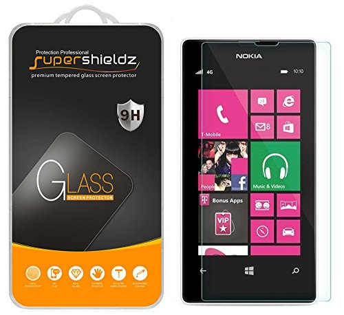 (2 Pack) Supershieldz for Nokia Lumia 521 Tempered Glass Screen Protector, Anti Scratch, Bubble Free (Nokia 521 Screen Replacement)