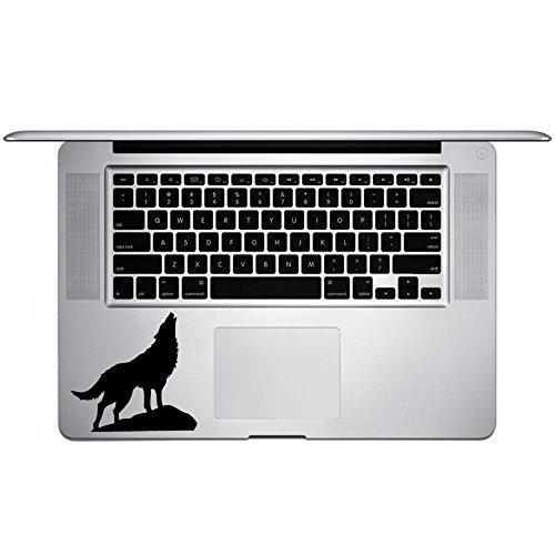 "Howling Wolf Silhouette Vinyl Sticker Laptop Keyboard Inside Corner iPhone Cell Decal (3.5"" Wide)"