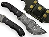 AishaTech Wood Thresher Fixed Blade Tracker Knife Damascus Steel blade Black Micarta Handle For Sale