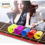 10PCS Fireboomoon mixed color Large Medium Small Size Guitar Fingertip Protectors Silicone Finger Guards for Ukulele Electric Guitar. (Three Size)