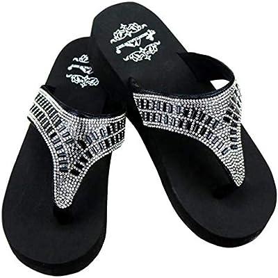 f2cd62b4e26a8 Montana West Women's Hand Beaded Flip Flop Sandals (8B(M ...