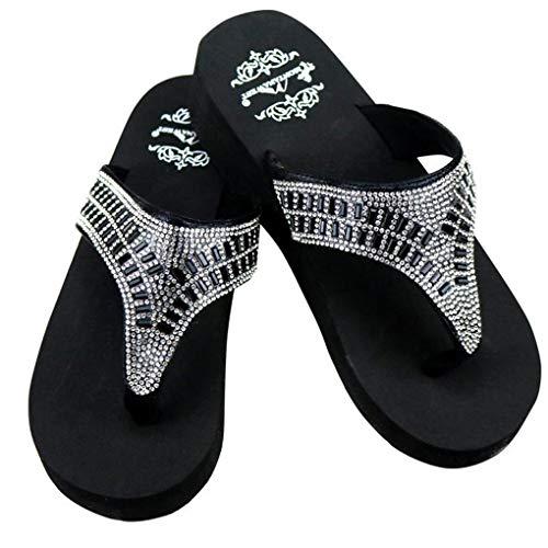 Montana West Women's Hand Beaded Flip Flop Sandals (7B(M), BlackHorseshoeBling) (Flop Sandal Flip Beaded)
