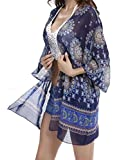 Anmengte Womens Beachwear Floral Loose Kimono Cover Up For Bikini Tankini