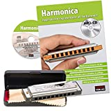 CASCHA French School Harmonica Beginners Set - Learn to Play Blues Harmonica with Case, Care Cloth and Instruction Book - C Major Harmonica