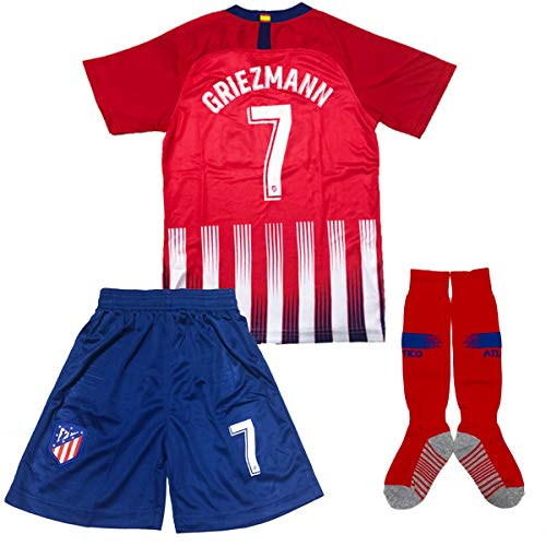 f42fd8b0e GLL SPORT  7 Griezmann New 2018 2019 Season Atletico Madrid Home Kids Shirt  Soccer Football Jersey   Short   Socks Sport Kit for Youth Kids (11-12  Years)