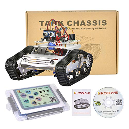 KOOKYE Robot Car Chassis + Robot Car Electronics Parts Kit Tank Platform Metal Stainless Steel 2DW Motor 9V for Arduino
