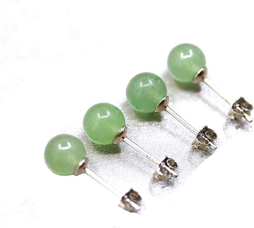 Ouken Jade Verde Natural de Plata Redondo con Cuentas Pendientes para Las Mujeres 1 PC