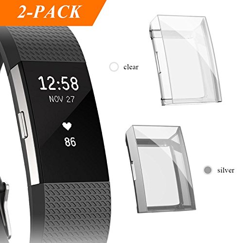 Fibit Charge 2 Screen Protector, iHYQ Slim Soft Full Cover Case for Fitbit  Charge 2 Smart Watch (silver)