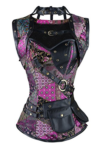 Charmian Women's Steel Boned Retro Goth Brocade Steampunk Bustiers Corset Top with Jacket and Belt Multicolored Small