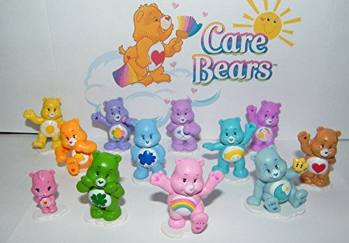 Care Bears Deluxe Party Favors Goody Bag Fillers Set of 12 Figures with baby Wonderheart Bear, Bed Time Bear, Share Bear, Wish Bear and Many ()