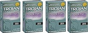 Trojan Ultra Thin Latex Condoms, (12 Count) CosUti (Pack of 4)