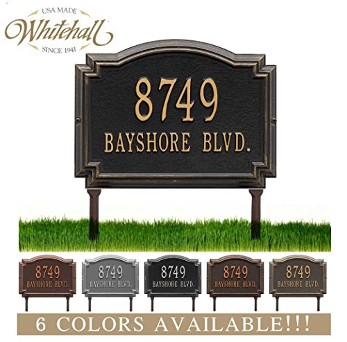 Address Plaque Number Display - Metal Address Plaque Personalized Cast LAWN MOUNTED Williamsburg Plaque. Display your address and street name. Custom house number sign.