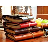 Rétro classique en cuir PU Journal Pirate Notebook Carnet de Voyage navale w / String café noir