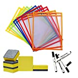 10 Pcs Dry Erase Pocket Sleeves Sheets/w Mini Dry Erasers Cleaner & Black Dry Erase Markers