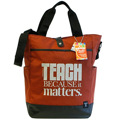er Tote Bag - Convertible Cross Body Bag with Pockets, Organizers, Zippers, and Laptop Sleeve - Best as Teacher Appreciation or New School Teacher Gift - Brick Red ()