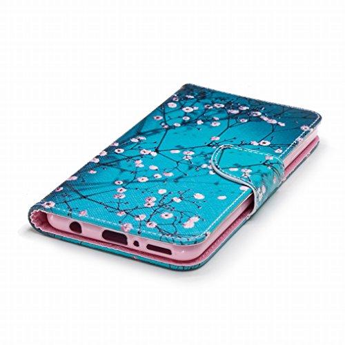 LEMORRY Handyhülle Huawei Y9 (2018) Leder Tasche Flip Beutel Haut Slim Magnetisch Soft SchutzHülle Weich Silikon Cover mit Kartenschlitz Hülle Schale für Huawei Y9 (2018), Kirschblüte