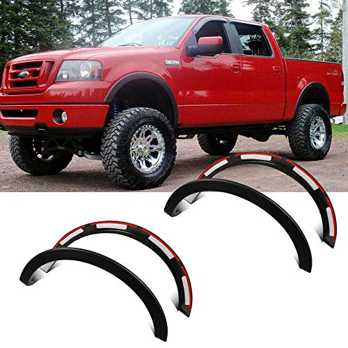 CD-Parts Fender Flares Kit Fits 2004-2008 Ford F-150 Styleside, Front Rear Right Left Wheel Cover Protector Vent Trim, Factory/OE Style 4pcs Matt Black
