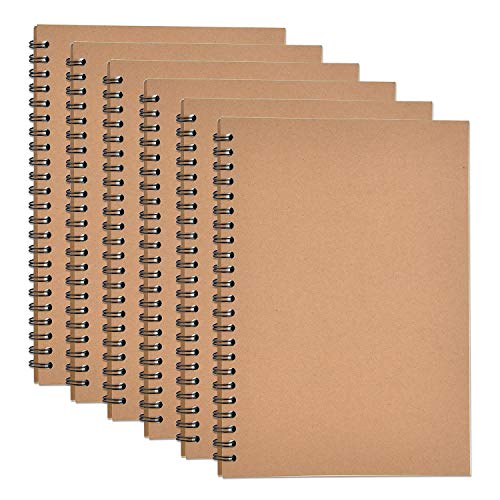 SAYAYA 6 Pack Kraft Cover Wirebound Notebooks Bulk Journals Spiral Steno Pads with Lined Paper Brown Spiral Notebooks with 120 Pages 60 Sheets Memo Notepads for Home School Travel, 8.3 x 5.5 inch