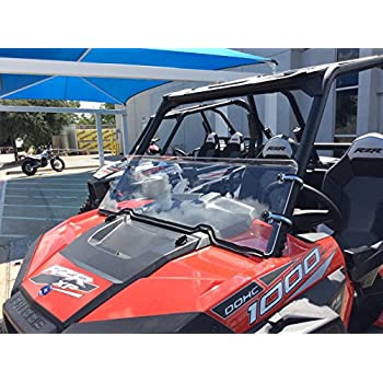 """2008-2014 Polaris RZR 800//900//570 Tinted Half Windshield-1//4/"""" Thick Black Clamps"""