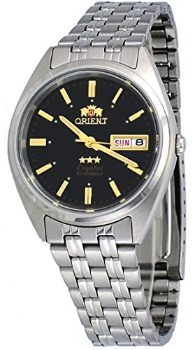 Orient #FAB0000DB Men's 3 Star Stainless Steel Black Dial Self Wind Automatic Watch