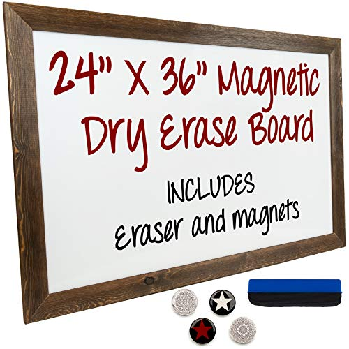 (Dry Erase Magnetic White Board with Rustic Wooden Frame for Home, School, Office - 24