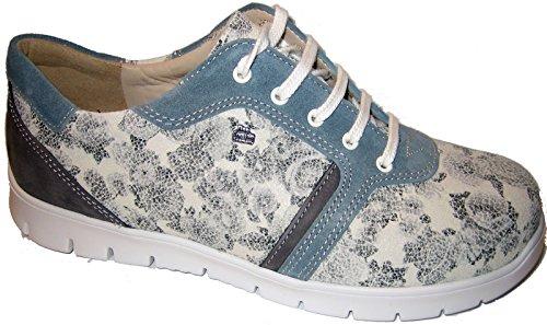 2850 cordones Zapatos Piel 901417 Flower Multicolor Comfort mujer Kombi Gris para Finn Patagonia de Velour de 5x0fxn