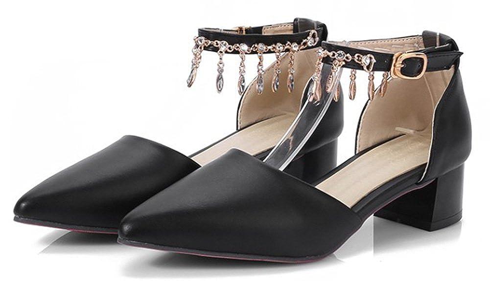 SHOWHOW Womens Fashion Rhinestone Pendant Buckle Pointed Toe Pump