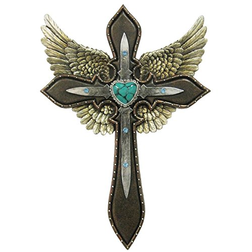 Gold Wing / Blue Heart Layered Decorative Wall Cross ...