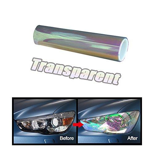 ATMOMO Transparent 12 by 80 Inchs Self Adhesive Shiny Chameleon Headlights Films Tint Vinyl Film