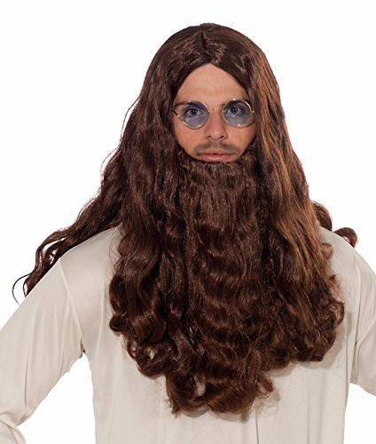 Forum Novelties Men's Long Guru Wig and Beard, Brown, One (Men Costume Long Hair)