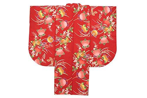 フリル困惑した常習的袴用二尺袖着物 赤 レッド 橘 桜 花 レトロモダン 重衿付き 小振袖 卒業式 女性 レディース 仕立て上がり