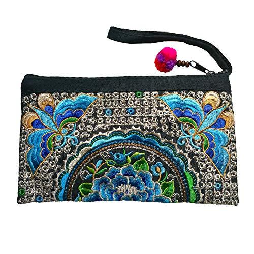 Sabai Jai - Smartphone Wristlet Bag - Handmade Embroidered Boho Clutch Wallets Purses