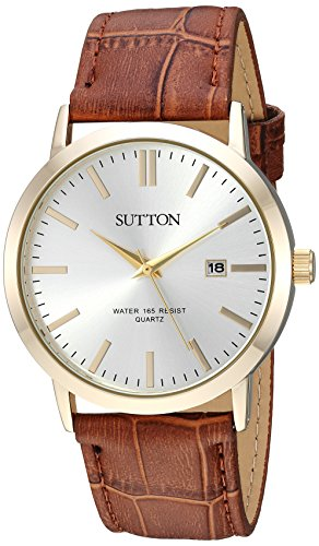 Sutton by Armitron Men's Quartz Metal and Leather Dress Watch, Color:Brown (Model: SU/5001SVGP)