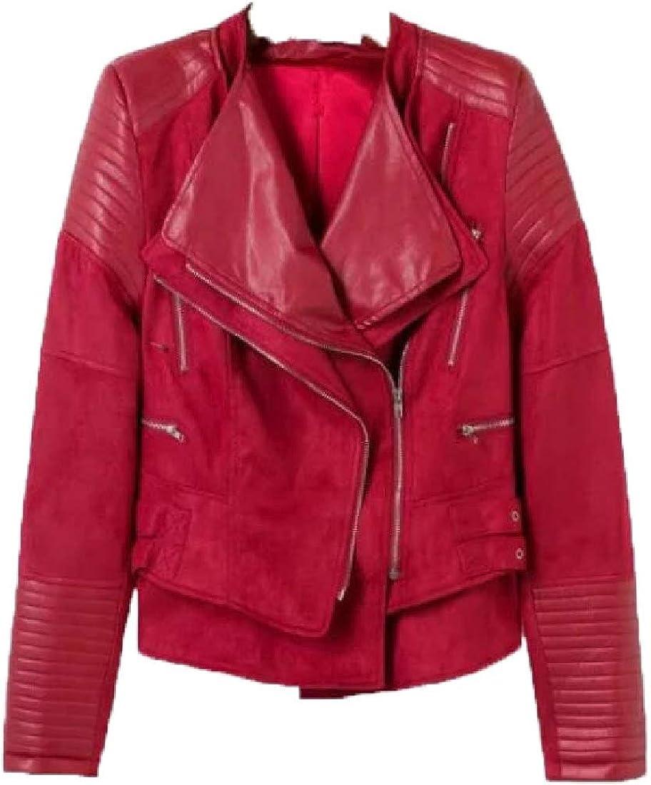 WSPLYSPJY Womens Pleated Long Sleeve Lapel PU Faux Leather Jacket