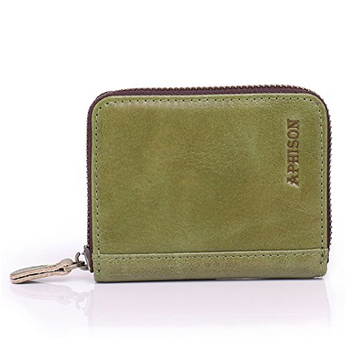 APHISON RFID Leather Credit Card Holder Wallet Zipper Around Block Security Travel Wallets/Gift Box (GREEN)