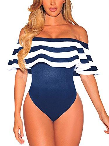 CHDT-Shirt Sommer Damen Trikot Body Top Sexy Ein Wort Kragen Lotusblatt Seite Bodysuit Oberteile Striped Spleißen Jumpsuits Königsblau aA30Jj