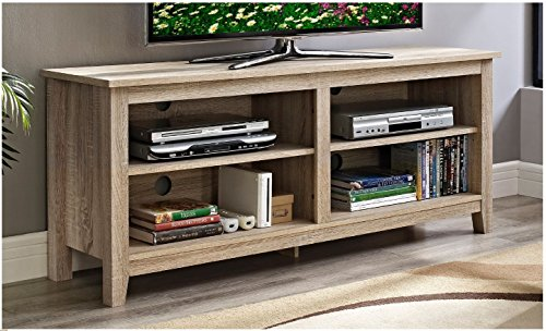 Modern Rustic Weathered Natural Oak Wooden TV Media Stand for 60 in TV with Open Storage Includes ModHaus Living (TM) Pen