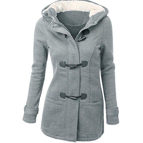 Tonsee Mode femme coupe-vent Outwear laine chaude Slim Long manteau veste Trench Parka Gris