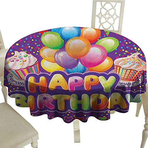 longbuyer Birthday Printed Tablecloth Purple Colored Backdrop with Creamy Cupcakes Hearts Confetti Rain and Balloons Diameter 70