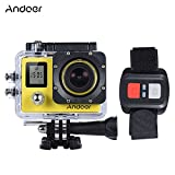"Andoer 4K 30fps/1080P 60fps Full HD 16MP Action Camera Waterproof 30m WiFi 2.0""LCD Sports DV Cam Camcorder 170 Degree 4X Zoom Dual Screen Car DVR w/ Remote Control (Yellow) Andoer"