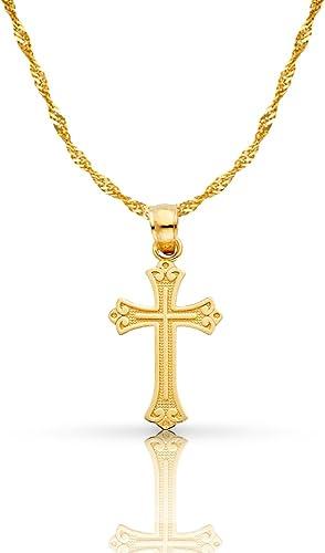 Cross Pendant White Gold Cross Plain Gold Cross Necklace