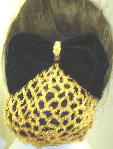 Gold Snood - Sn72, Hand Crocheted Metallic Gold Gimp Dress Snood with Black Velvet Bow for Women and Teens