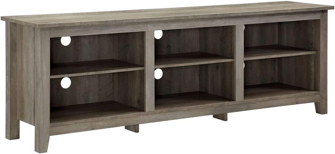 Walker Edison Furniture Company 70 inch Wood Media TV Stand Storage Console in Grey Wash