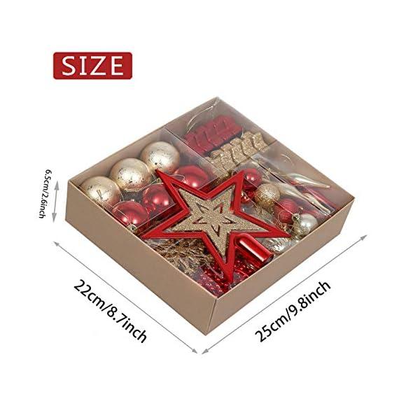 Valery Madelyn Palle di Natale 52 Pezzi di Palline di Natale, 3-5 cm Rosso e Oro Infrangibile Ornamenti di Palla di Natale Decorazione per la Decorazione Dell'Albero di Natale 3 spesavip
