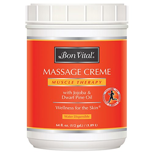 Bon Vital' Muscle Therapy Massage Crme, Professional Massage Cream with Dwarf Pine Oil & Essential Oils for Relaxation & Sore Muscle Relief, Deep Tissue & Sports Massage Techniques, 1/2 Gallon Jar