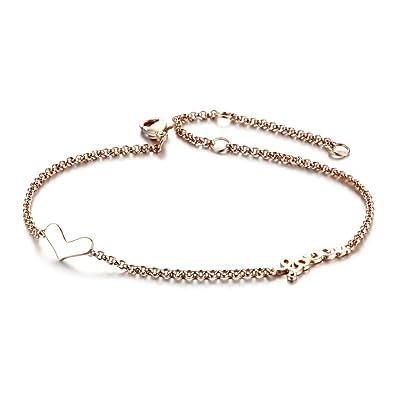 Amazon Com Rose Gold Bracelet Women Heart Hand Chain Link Bracelets