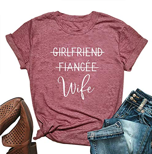 MOMOER Girlfriend Fiancee Wife Shirt Women Cute Engagement Gift for Bride Honeymoon Vacation Tops Tee (Red, M)
