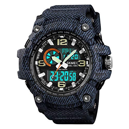(Mens Military Watch Digital Outdoor Sport Waterproof Wrist Watches Multifunction Casual Dual Display 12H/24H Stopwatch Calendar Watch - Cowboy Black)