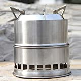 Solidified Alcohol Stove Compact Portable Wood Stove Stainless Steel Super Light Sturdy Durable for Outdoor Activities Picnic BBQ Camping Hiking Metallic Finish Pack of 1 Wood Stove with 1 Mesh Bag